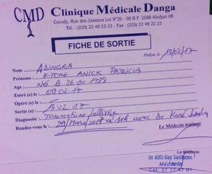 La fiche de sortie de dame Annick Adingra. Ph. S.K.