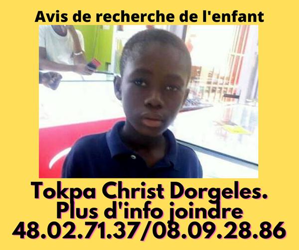 [Côte d'Ivoire/Jacqueville] Le petit Tokpa Christ Dorgeless introuvable depuis le samedi 14 novembre dernier