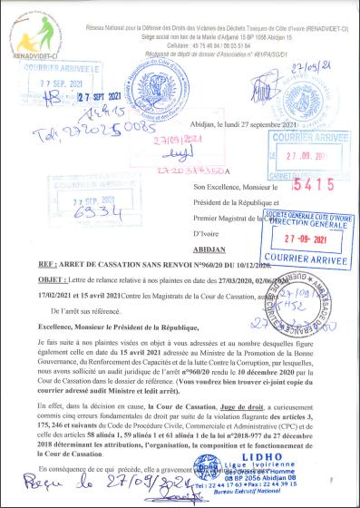 [Côte d'Ivoire/Affaire Déchets toxiques] RENADVIDET-CI saisi à nouveau Alassane Ouattara et le ministre de la lutte contre contre la corruption